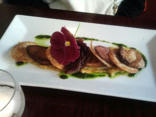A beautifully plated Oyster Mushroom Scallop Appetizer