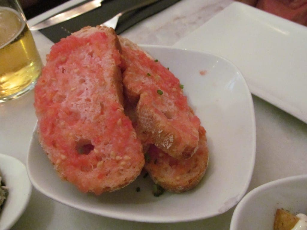 Pan con Tomate at Pepitas in Barcelona