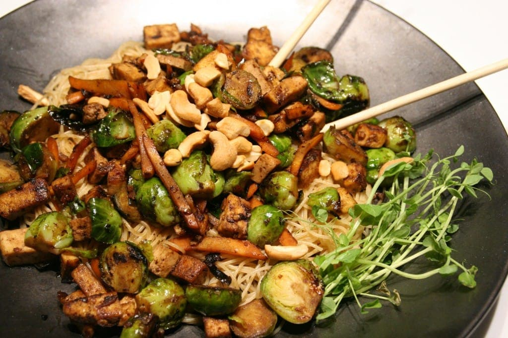 Szechuan Tofu and Brussels Sprouts