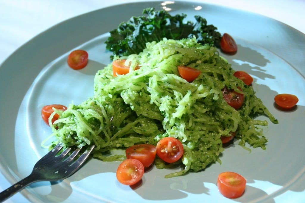 Spaghetti Squash with Creamy Kale Pesto and Grape Tomatoes