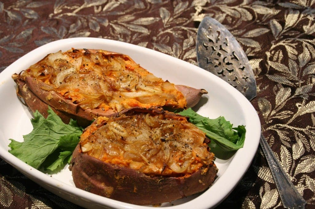 Warm Up with a Caramelized Onion Stuffed Sweet Potato