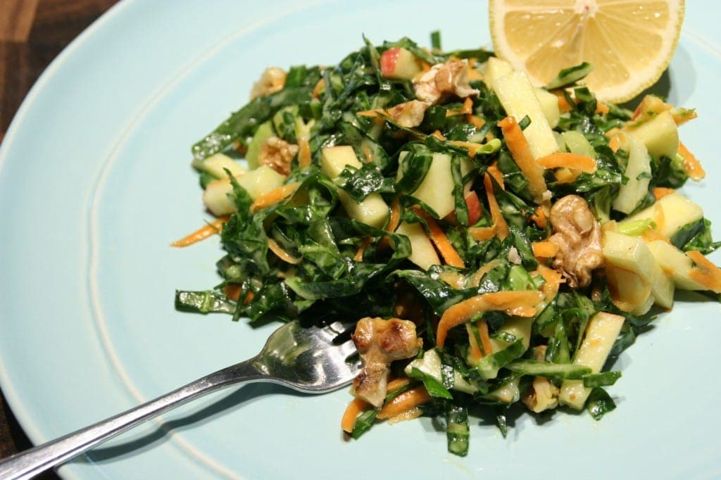 Tender Ribbons of Hearty Greens, with Crunchy Apples, Carrots and Walnuts