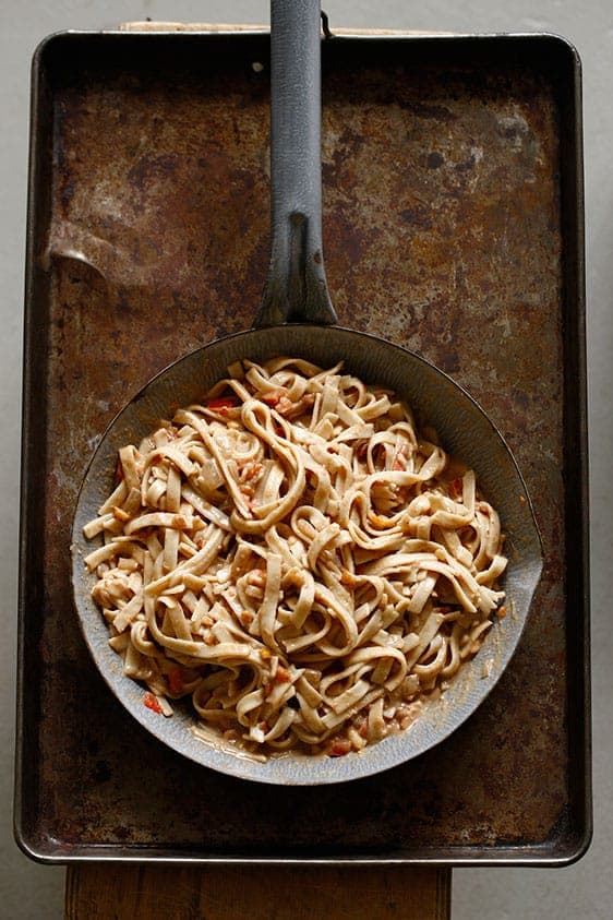 Spicy African Peanut Sauce on Noodles