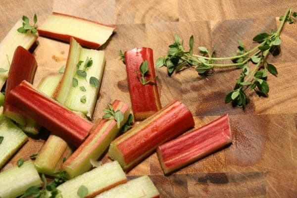 Rosy Red Rhubarb with Thyme, Fresh From the Garden