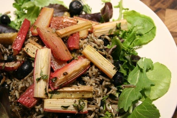 Roasted Rhubarb on Wild Rice with Blueberries