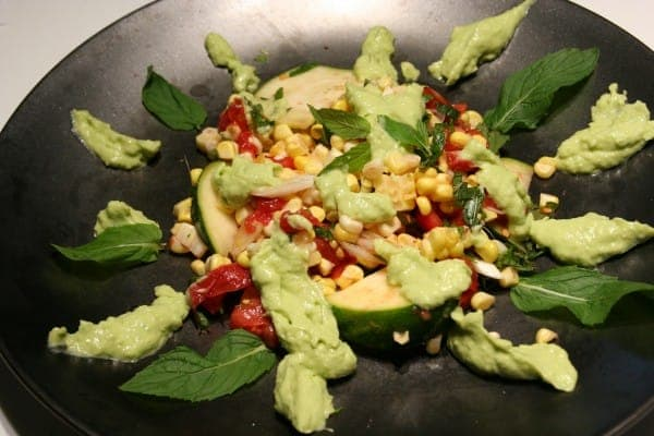 Sweet, Crisp Raw Corn with Tangy, Creamy Green Goddess