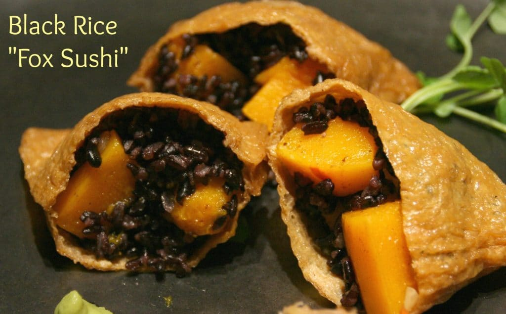 Tender Kabocha Squash Cubes with Black Rice in Tofu Wrappers