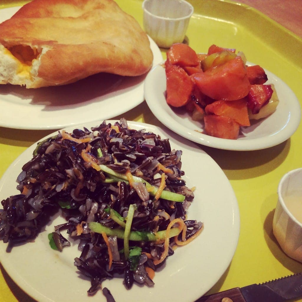 Cheese Filled Fry Bread, Wild Rice and Watercress Salad, Carrots Roasted with Honey
