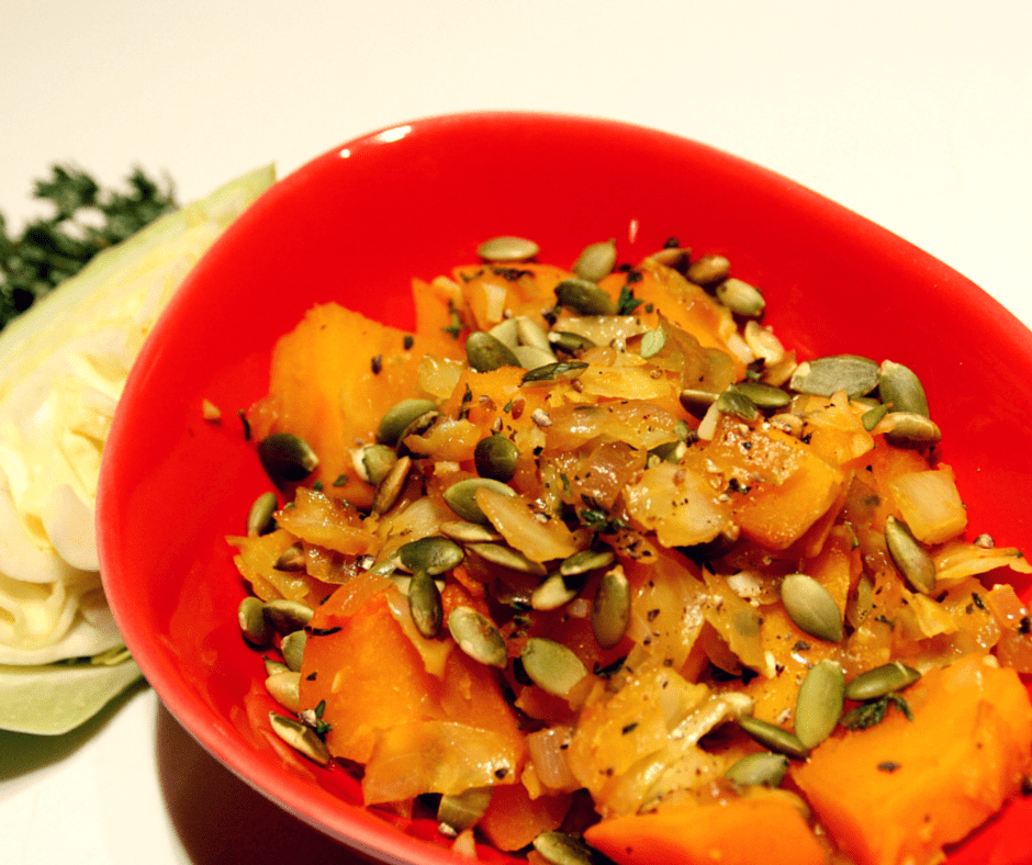 Apple-Braised Red Kuri Squash with Cabbage and Pumpkinseeds #vegan #holiday #wintersquash #sidedishes