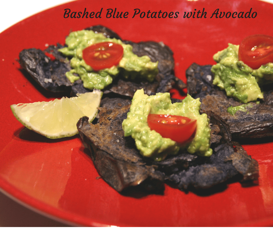 Bashed Blue Potatoes with Avocado #vegan #glutenfree #healthyeating
