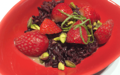 A Spring Treat: Thai Purple Rice with Strawberries and Pistachios