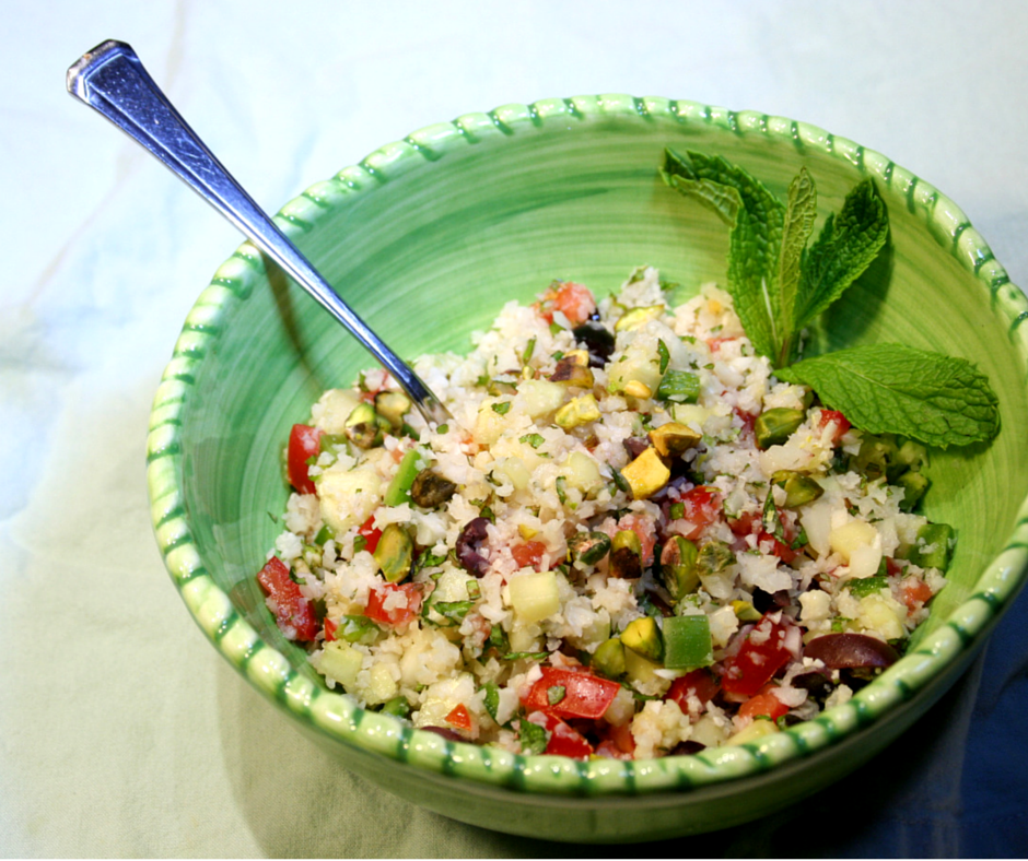 Minty Cauliflower Tabouli with Olives