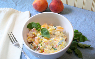 Summery Peach and Sweetcorn Salad with Basil, Welcome August