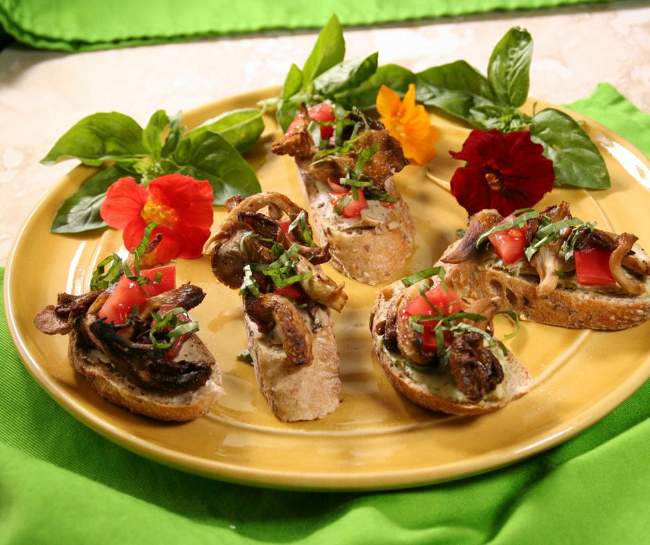 Smoked Oyster Mushroom Bruschetta