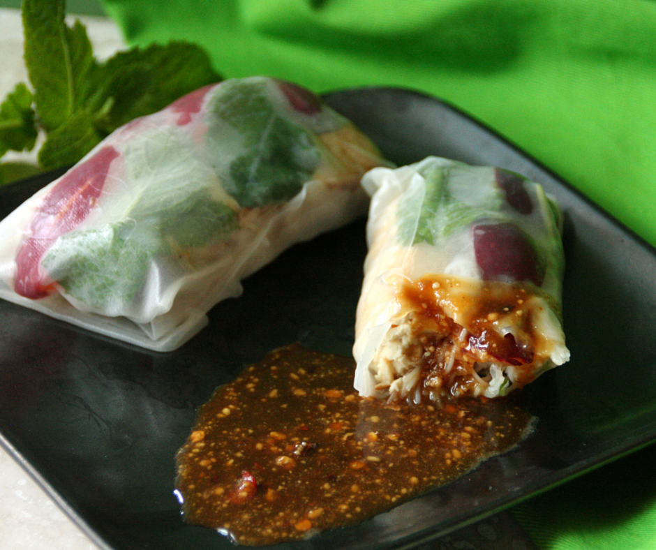 Honey-Glazed Tofu Summer Rolls #vegan #honeybees