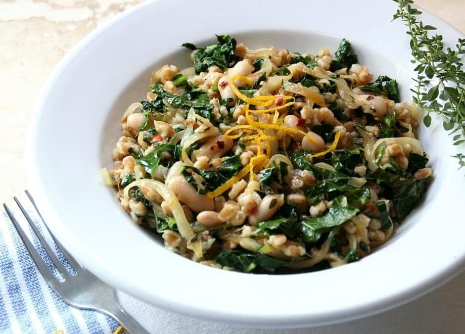 Farro with White Beans, Kale and Orange, Ancient Grains for Dinner