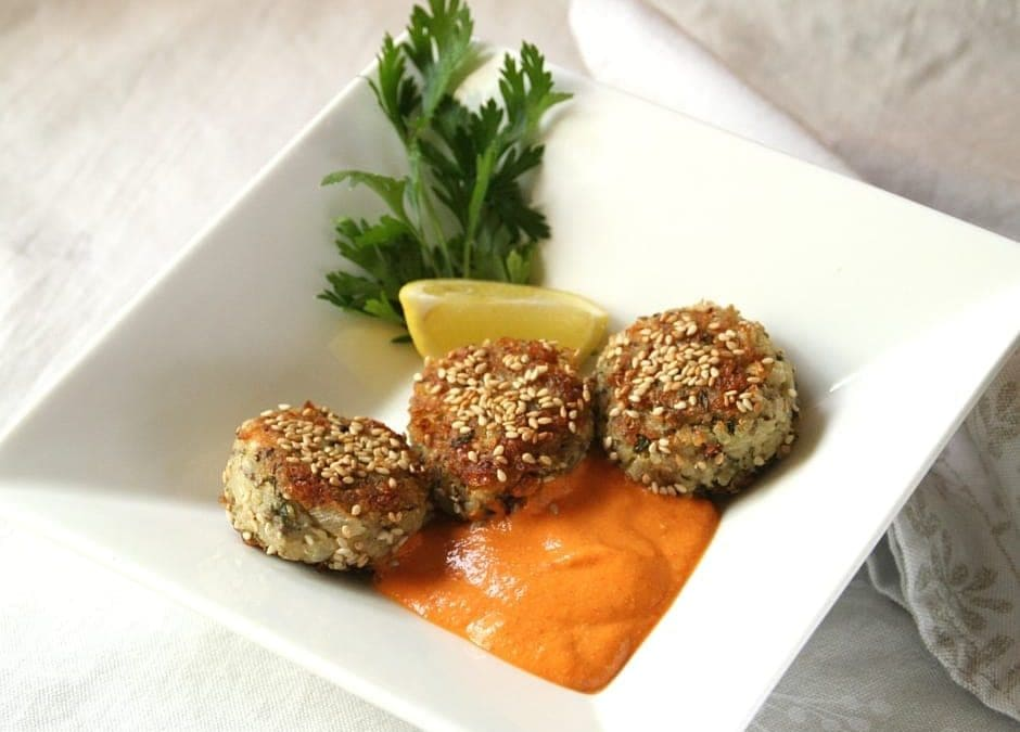Quinoa Cakes with Creamy Red Pepper Sauce, a Whole Grain Appetizer Course