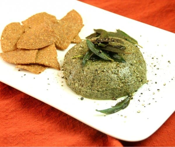 Pumpkin Chips with Sage-Pumpkinseed Pate and Sizzled Sage Leaves