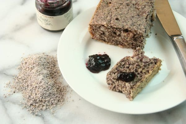 Purple Cornbread with Blueberry Jam