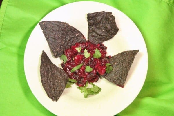 Purple Chips with Cranberry Salsa
