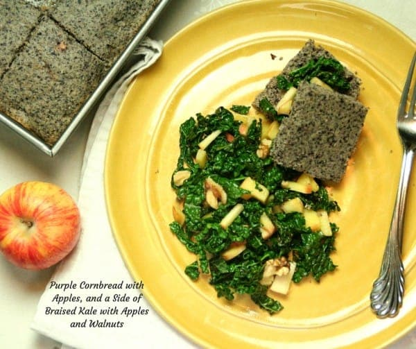 Purple Cornbread with a Side of Apple Braised Kale