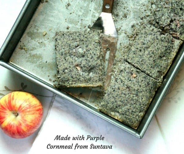Purple Cornbread with Apples #antioxidants #vegan #quickrecipe #bread