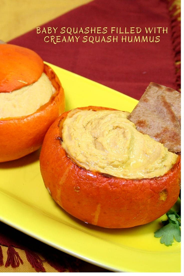 Baby Squashes Filled With Squash Hummus #APPETIZERS #HUMMUS #VEGAN #beans