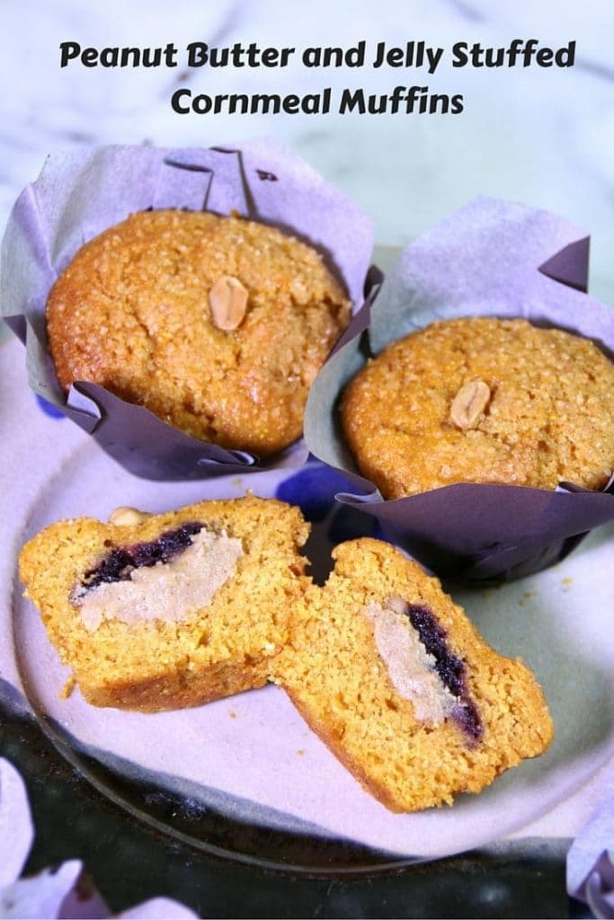 Peanut Butter and Jelly Stuffed Muffins #peanutbutter #vegan #yum #muffins