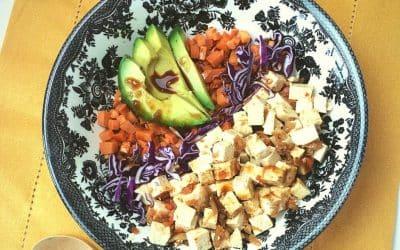 Kimchi Tofu Sweet Potato Bowl, Easy Bowl Food