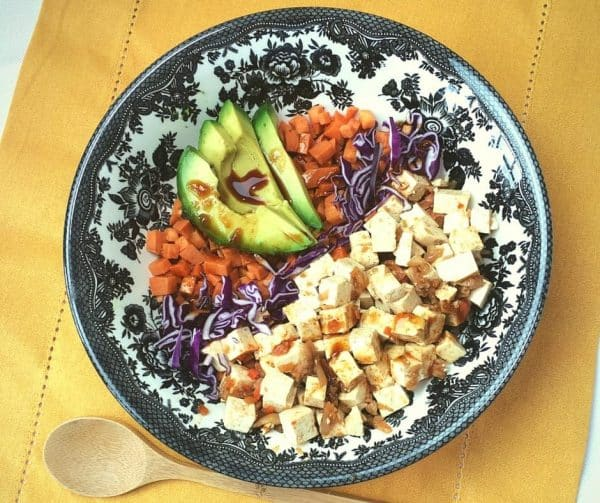 So quick and tasty- Kimchi Tofu Sweet Potato Bowl