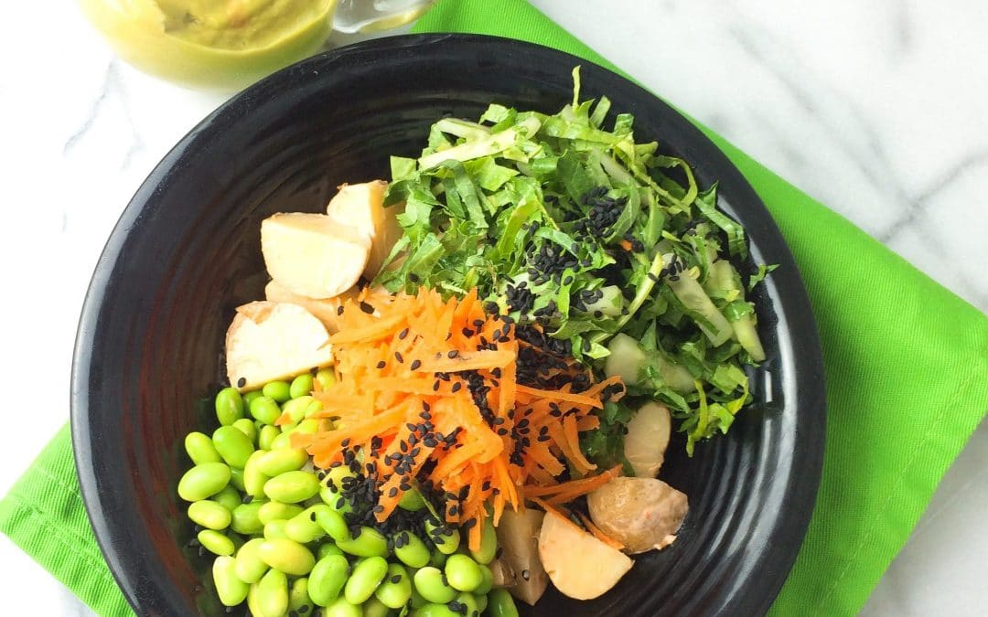 New Potatoes with Edamame and Avocado Miso Sauce Make a Great Bowl