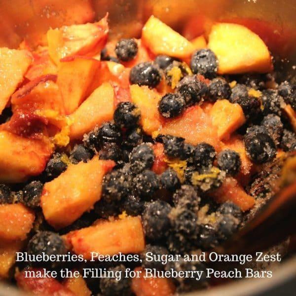 Blueberries, Peaches, Sugar and Orange Zest #blueberries #baking #bars #yum