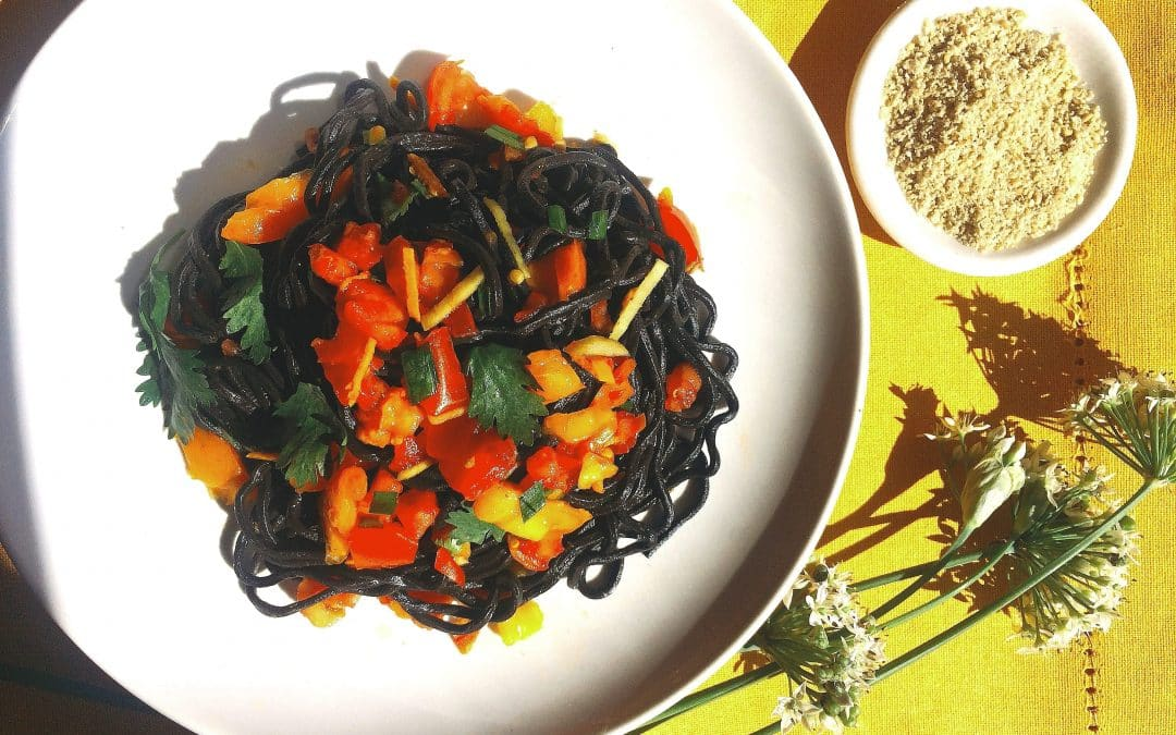 Black Ramen with Ginger Tomato Sauce, A Quick Recipe for End of Summer
