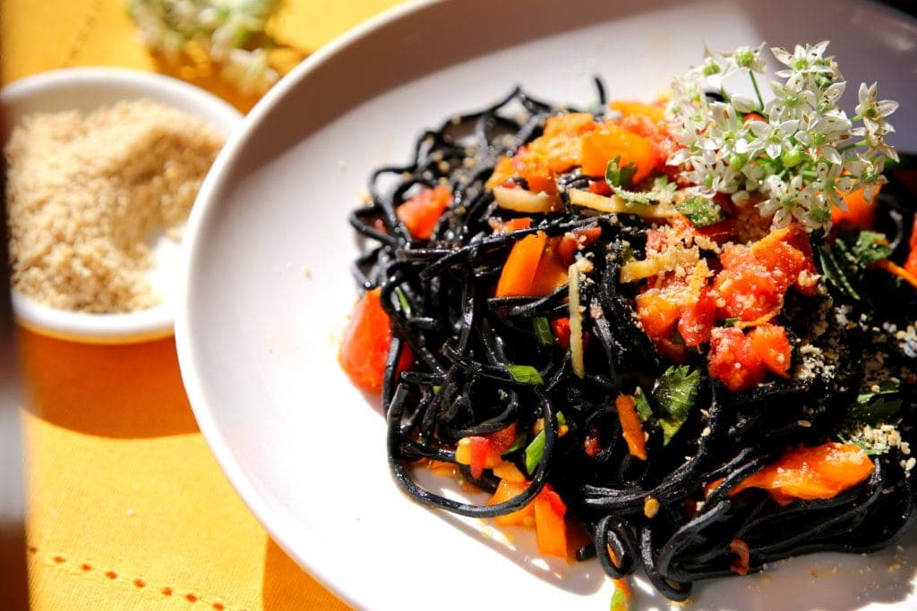 Fresh Squid Ink and Sesame Ramen with Ginger Tomato Sauce