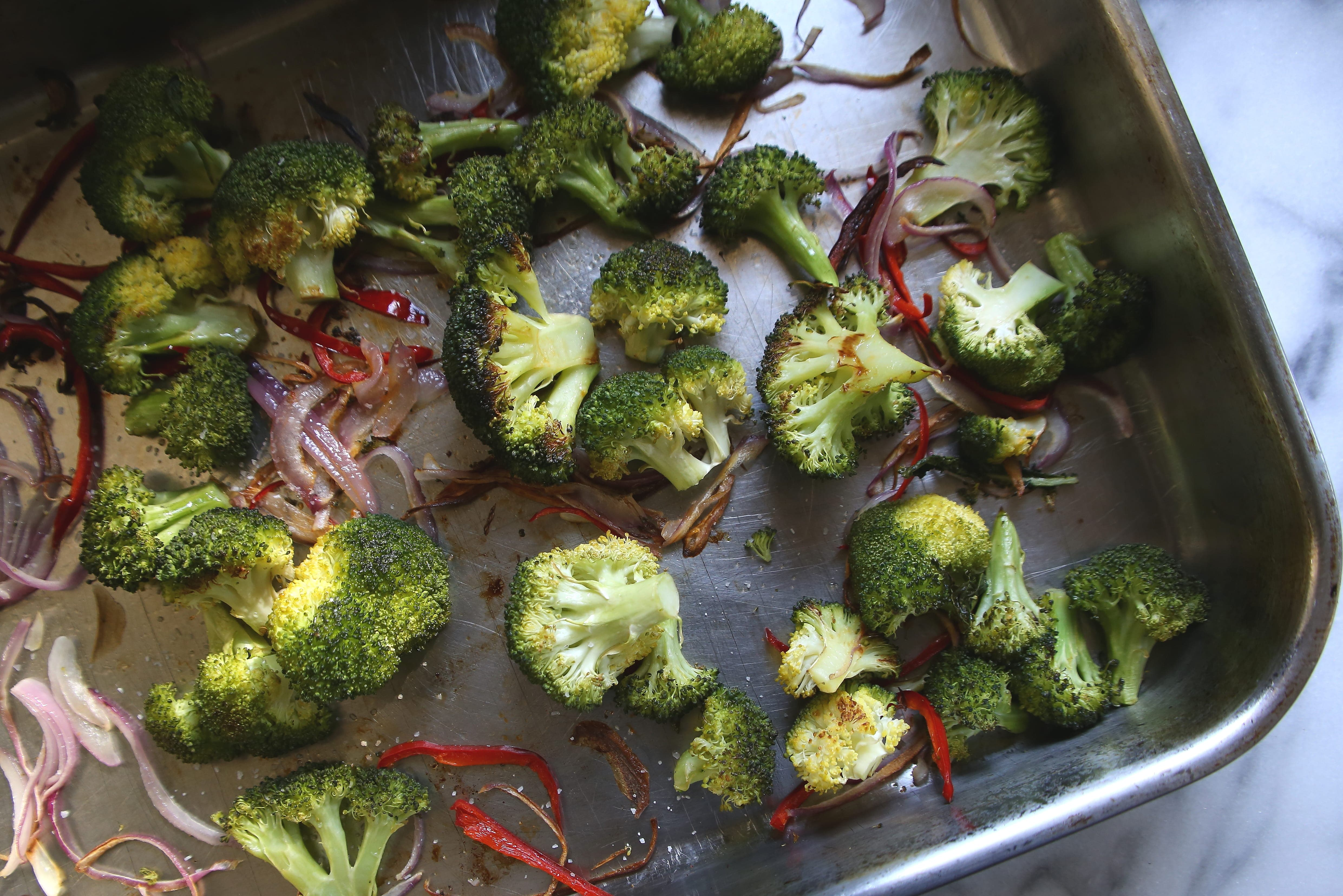 Roasted Broccoli, Chiles and Red Onion for American Quinoa