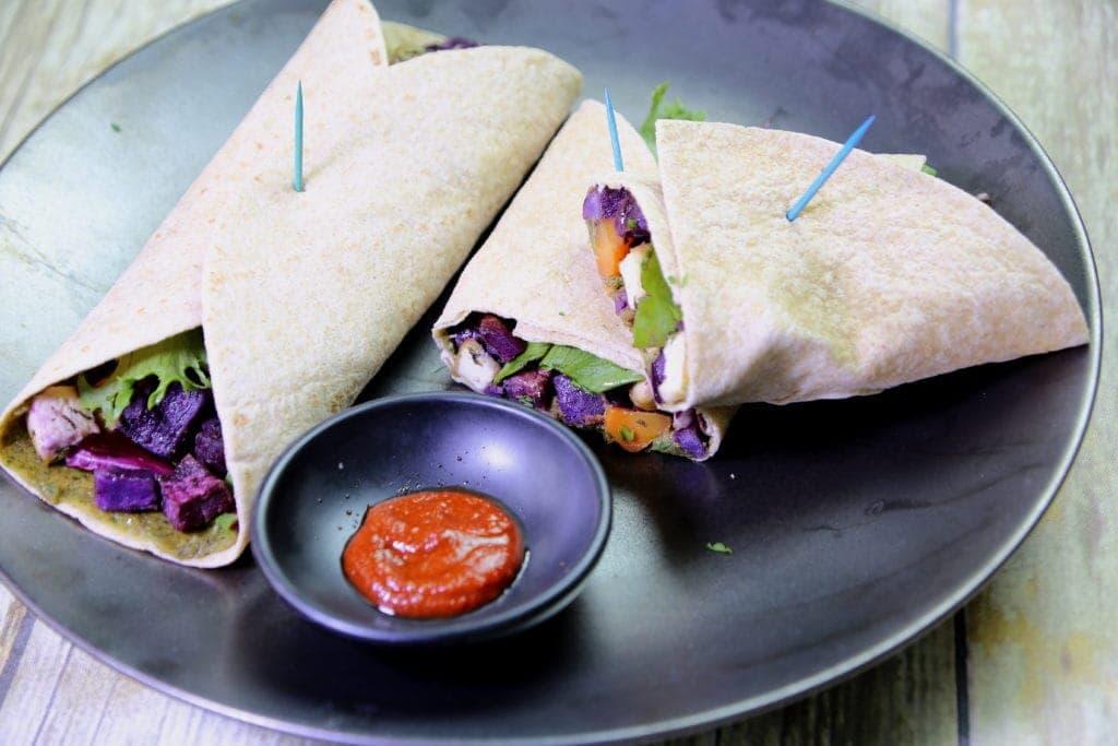 Roasted Purple Sweet Potato and Tofu Wrap Sandwiches with Walnut-Miso Pate on Robinasbell.com