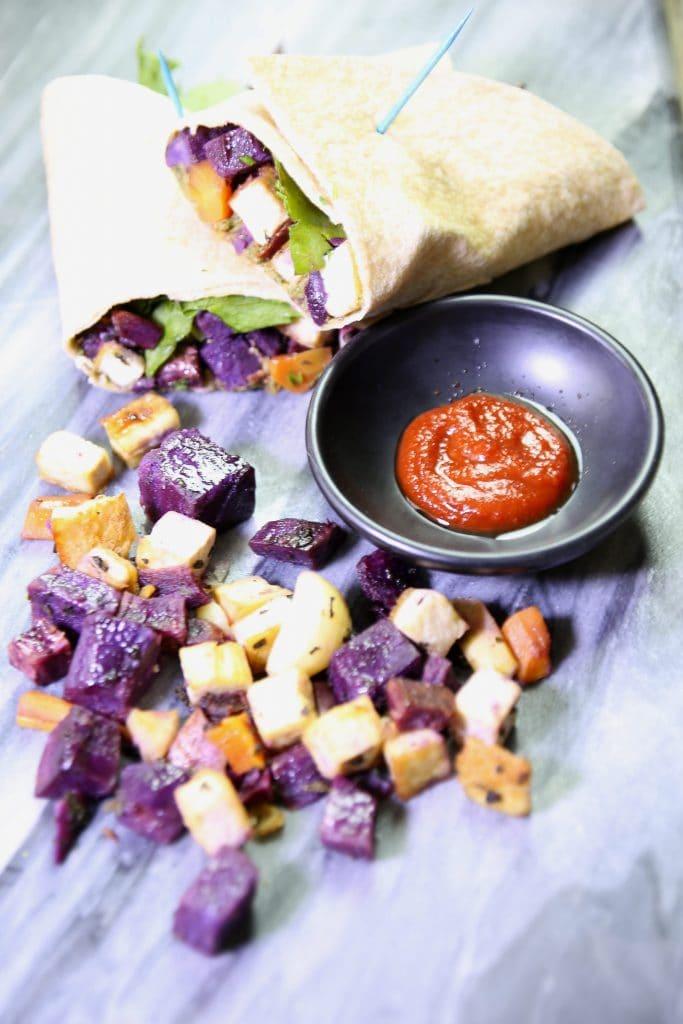 Roasted Purple Sweet Potato and Tofu Wrap with Walnut Miso Pate