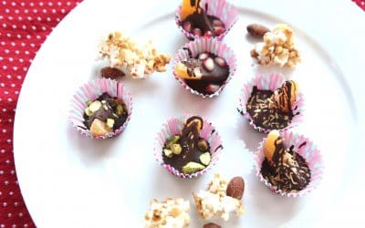 "Party with Smoky Almond Butter Popcorn and Mandarin Chocolate ""Shots"""