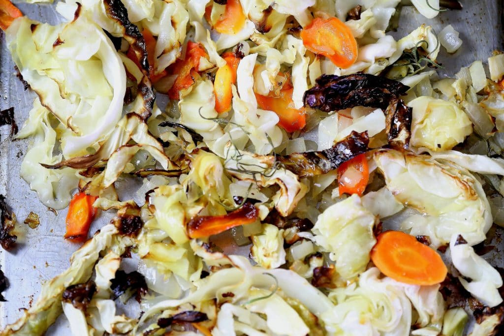 Roasted Cabbage, Carrots, Onions and Garlic with Rosemary