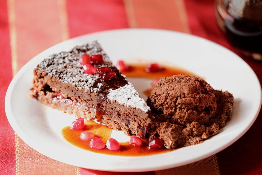 Valentine's Chocolate Cake with Aquafaba Mousse and Pomegranate-Chili Sauce