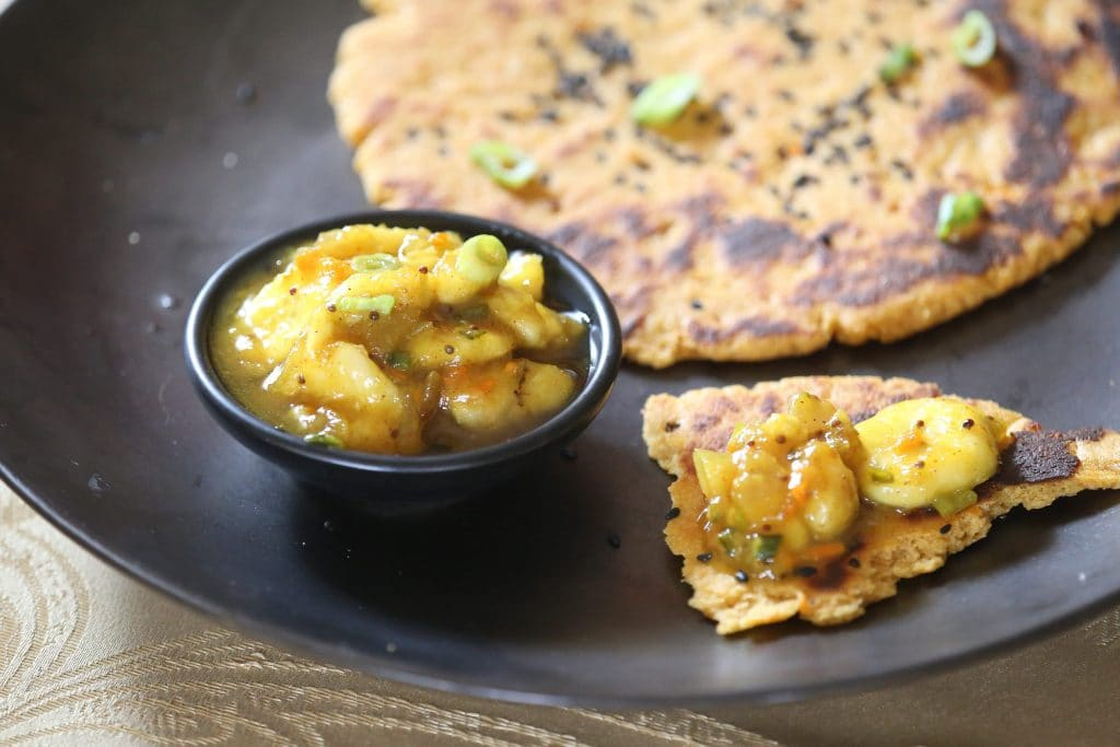 Kamut and Chickpea Naan with Banana Chutney