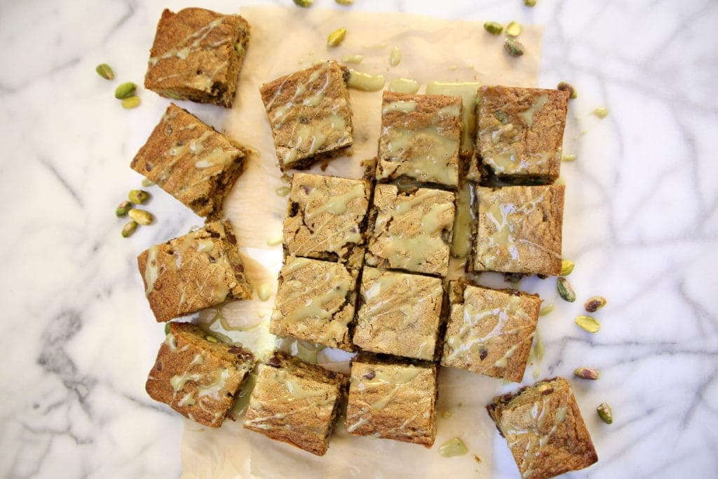 Pistachio-Matcha Blondies by Robin Asbell