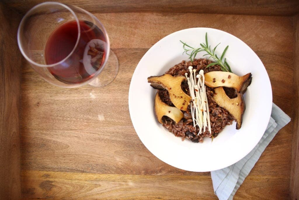 Pinot Noir and Pink Rice Risotto with Mushrooms by Robin Asbell
