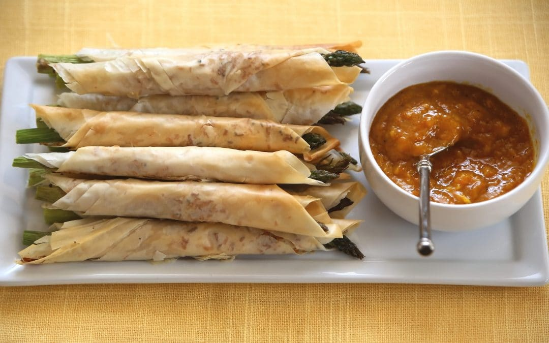 What to do with Asparagus Now- Coconut Filo Asparagus with Mango Chutney