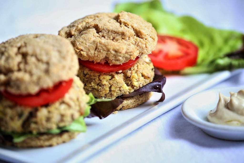 Whole Wheat Biscuit and tofu Artichoke Burger Sliders