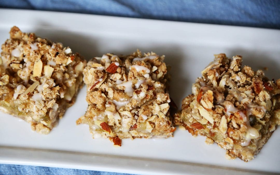 Time To Bake With Rhubarb- Rhubarb Almond Bars with Rolled Barley