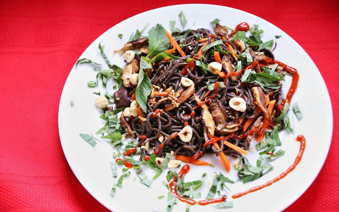 "Wild Rice ""Minnesoba"" with Shiitakes and Hazelnuts, for Mindful Eating"