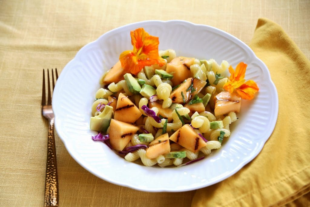 Grilled Cantaloupe makes a simple pasta salad special