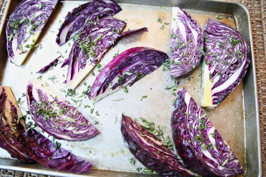 Purple CAbbage Wedges Before Roasting