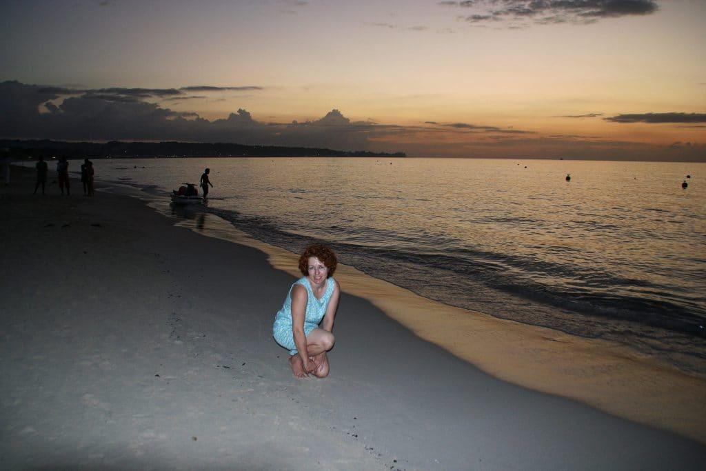 Robin Asbell on the beach in Jamaica